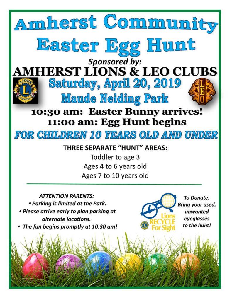 Amherst Community Easter Egg Hunt @ Maude Neiding Park